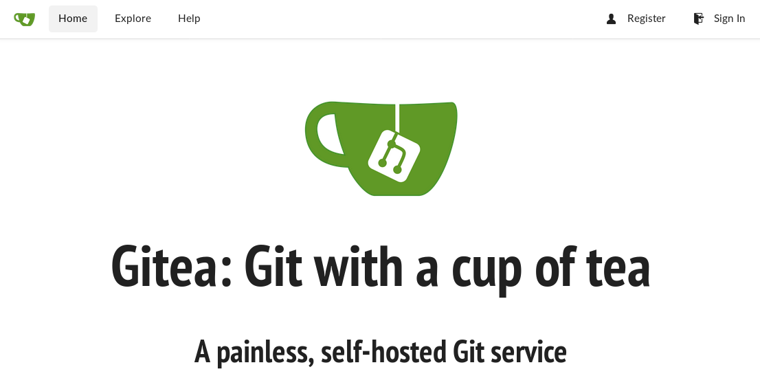 Gitea welcome page