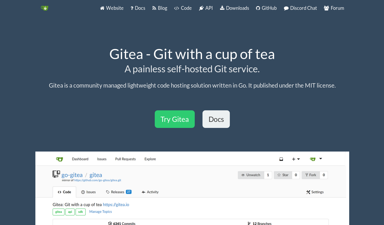 Gitea is a light weight git repository server.